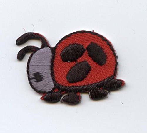Small Red and Gray Ladybug Iron on Embroidered Patch Ladybug Embroidered Iron