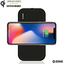 Portable Bluetooth Speaker & Wireless Charger Power Bank by ZENS   Enables Qi Charging   2 x 5W Speakers   Works with iPhone 8/8+/X, Samsung Galaxy S7, S8, Android, all other Qi enabled devices
