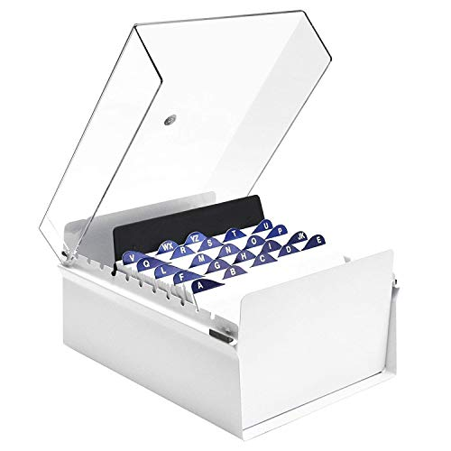 Acrimet 5 X 8 Card File Holder Organizer Metal Base Heavy Duty (White Color with Crystal Plastic Lid Cover)