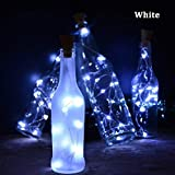 Forart Solar Powered Cork Copper Wire LED Lighting String, 20LEDs Fairy Lamp for Bar Red Wine Bottle Thanksgiving Christmas Decoration(2M/6.6feets, White)