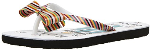Roxy Girls' RG Lulu II Flip-Flop, White/Emerald/Print, 1 M US Little (Roxy Print Sandals)