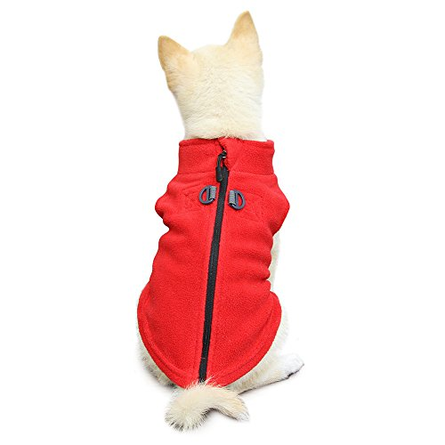Gooby - Zip Up Fleece Vest, Fleece Jacket Sweater with Zipper Closure and Leash Ring, Red, Medium