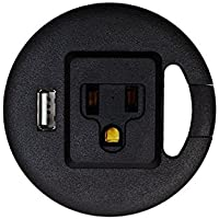 Power Tap Grommet Easy Plug with Cable Management Slot | 1 AC Adapter Outlet & 1 USB Power Center for Computer or Office Desk / Table | Easy to Install | Fits 60mm (2.36) Diameter (Black)