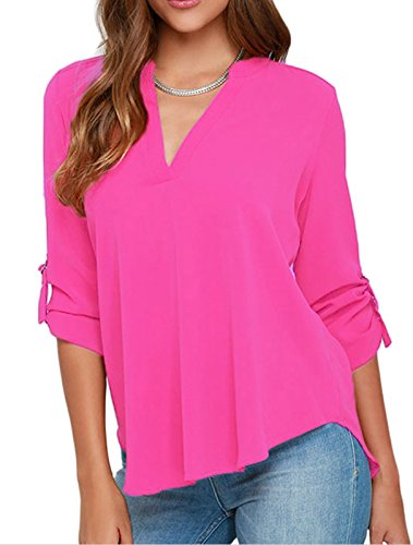 IF FEEL Womens Casual Loose V Neck Solid Flowy Sleeve Multicolor Shirt Top Blouse - Pink Size M