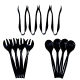 Disposable Plastic Serving Utensils Black - Set of 12 - Four 10'' Spoons, Four 10'' Forks, and Four 6'' Tongs by Upper Midland Products