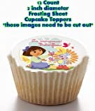 12 count DORA THE EXPLORER BOOTS MONKEY MARIPOSA Edible Image FROSTING SHEET Cupcake Cookie Cake Toppers 2 INCH DIAMETER CIRCLES - these need to be cut out