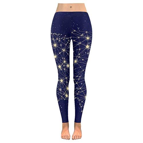 INTERESTPRINT Starry Night American Map Custom Stretchy Capri Leggings Skinny Pants for Yoga Running Pilates Gym 2XL