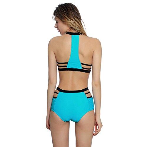 Mujers traje de baño de alta cintura cortado bikini bandage trajes de baño cyan