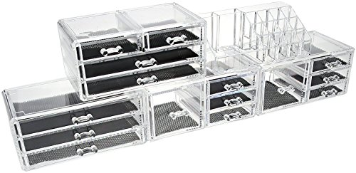 Unique Home 5 Piece Set Acrylic Jewelry & Cosmetic Storage Makeup Organizer (XX-Large, Clear)