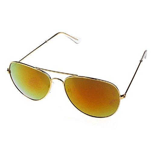 Lunettes De Soleil Covermason Armature en métal classique unisexe lunettes de soleil rétro femmes hommes (or + vert) ycefnF