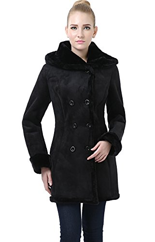 Faux Suede Hooded Coat - BGSD Women's Cindy Hooded Faux Shearling Coat - Black XL