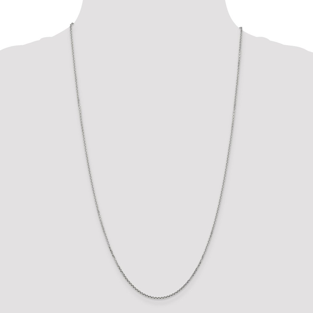14K White Gold 1.3mm Solid Faceted-Cut Cable Chain Necklace