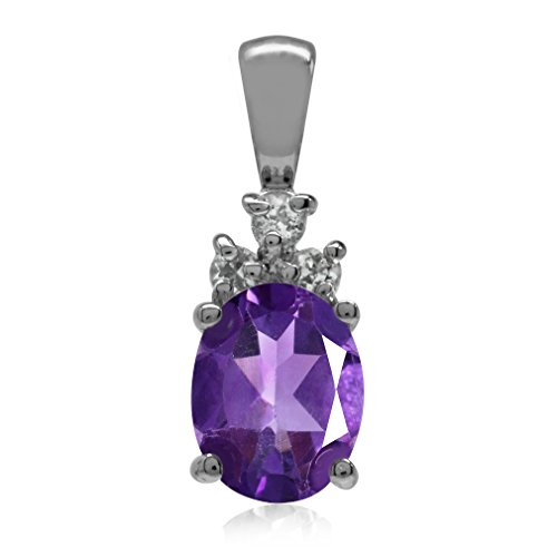 1.54ct. Natural African Amethyst & White Topaz 925 Sterling Silver Pendant