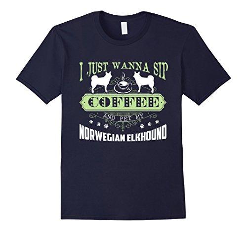 Mens Norwegian Elkhound T shirt - Norwegian Elkhound Shirt Large Navy
