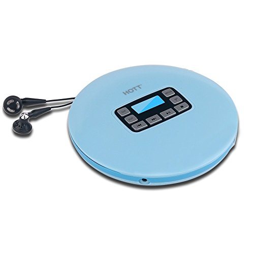 Portable Compact CD Player with LCD Display, HOTT CD611 Personal Compact Disc Player with Stereo Earbuds and Power Adapter, Electronic Skip Protection Anti-Shock Function - Baby Blue