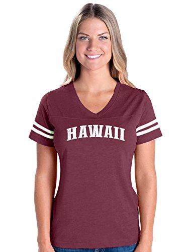 Hawaiian Islands Maui Kauai OAHU Kona Hilo Big Island Womens V-Neck Fine Jersey Tee (Cotton Kona Wholesale)