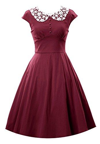 34 46 MUXILOVE Damen Jahr Cocktailkleid Größe Business Retro Weinrot Rockabilly Sommerkleid 50er Vintage Stil xZSwxCP