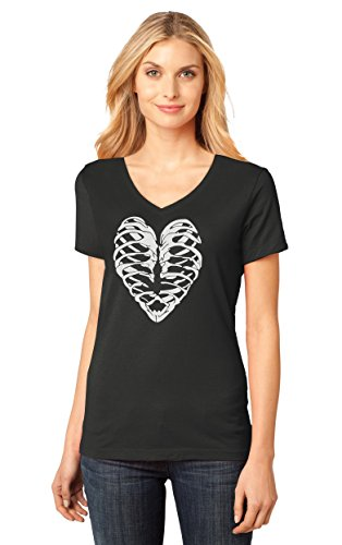 Heart Skeleton Rib Cage - Cool Halloween Easy Costume Women's Fitted V-Neck T-Shirt XX-Large Black -