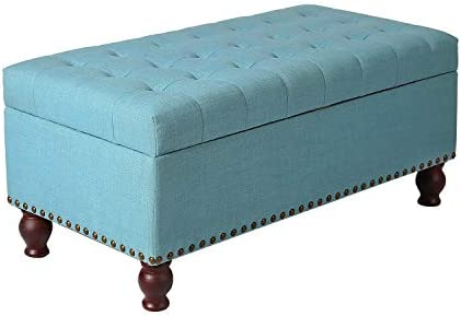 Decent Home Storage Ottoman Bench, Button Tufted Foot Rest Stool for Living Bed Room Blue