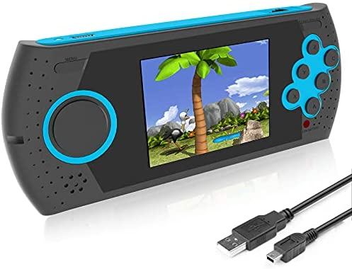 EASEGMER Kids Adults Handheld Games Console ,16 Bit Electronic Retro Game Console with 230 HD Games 3.0-Inch TFT Color Screen Video Games Player Support Heaphone & USB Rechargeable (Blue)