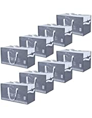 ATBAY Moving Tote Bags Extra Large Reusable Organizer Storage Bags with Zipper and Strong Handles for Clothes/Shoes/Blanket, 8PACK Gray