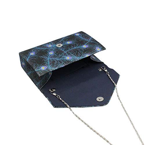 Main Bleu Imprimé Plume Besace Noir Pochette Esthétique avec Enveloppe Noir Avec à Style Bleu Plume Sac qXPt6v1