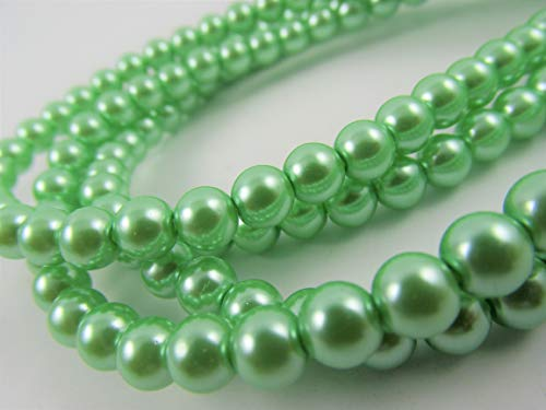BeadsOne 260 Pearl Beads Round Tiny Beads Mint Light Green for Handmade Jewerly Necklace Bracelet Beading Supplies faux pearls TOP quality C38 (8mm) ()