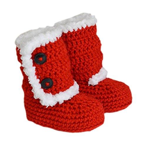 Bébé tricot crochet fait main Chaussures d'hiver chaussettes Souvenir de coffre cadeau 10cm Noël