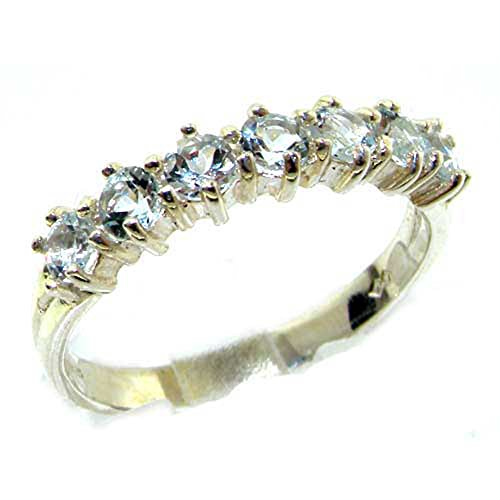 925 Sterling Silver Natural Aquamarine Womans Eternity Ring - Sizes 4 to 12 Available (Large Aquamarine Ring)