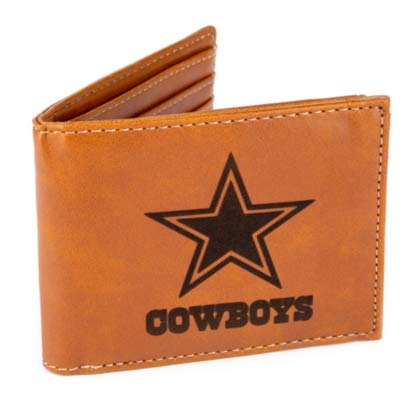Rico Industries NFL Dallas Cowboys Laser Engraved Billfold Wallet, Brown, 5.75 x 7-inches ()
