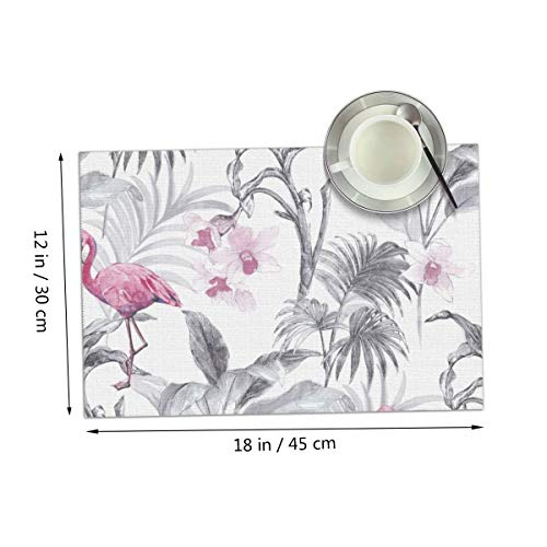 Carmen Belinda Pink Flamingo Birds Placemats Set of 4 for Dining Table Washable Place Mats for Kitchen/Dinning Table, Home Table Decor Non-Slip Heat Resistant, 12x18 Inches ()