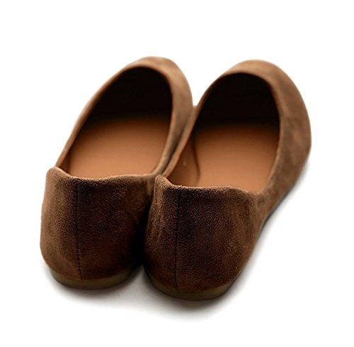 Ollio Mujeres Shoe Ballet Light Faux Suede Low Heels Flat Mocha