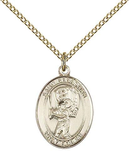 14kt Gold Filled St. Sebastian / Baseball Pendant with 18