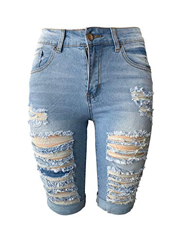 Distressed Spandex Shorts - Aodrusa Womens Ripped Denim Shorts Bermuda Stretch Short Distressed Jeans Light Blue US 4-6