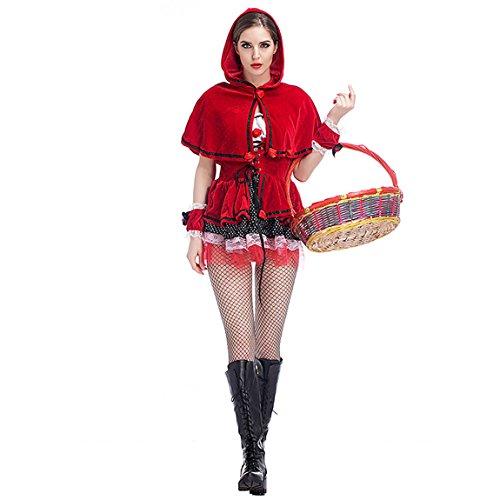 HUGGUH New Female Little Red Ridding Hood Cosplay Halloween Costume 6093 ()