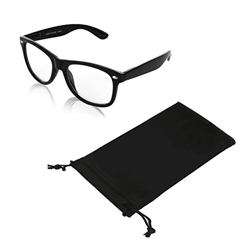 SunnyPro Nerd Geek Non Prescription Glasses For Men Fake Vintage Sunglass Black