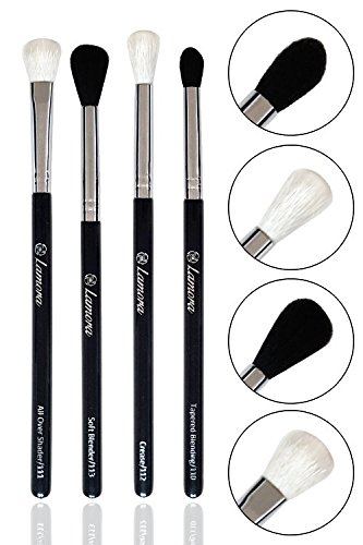 Pro Blending Brush Set - Smoky Eye Shadow Contour Kit - 4 Essential Shapes - Best Choice Crease, All Over Shader, Tapered, Soft Blender - For Shading or Blending of Eyeshadow Cream Powder Highlighter