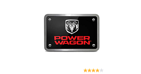 iPick Image for RAM Power Wagon UV Graphic Black ABS Plastic Tow Hitch Cover