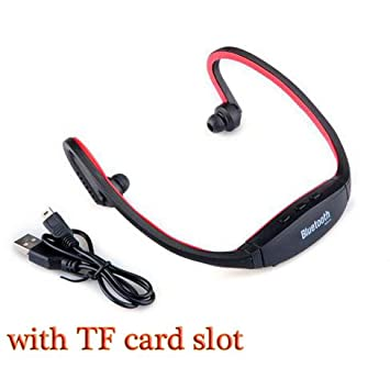 HHLUW Auriculares Inalámbricos Bluetooth Deporte Auricular Bluetooth Ranura para Tarjeta SD Bluetooth Auriculares Auriculares Micrófono,Rojo: Amazon.es: ...