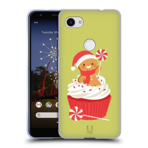 (Head Case Designs Peppermint Cupcake Jolly Christmas Toons Soft Gel Case Compatible for Google Pixel 3a XL)