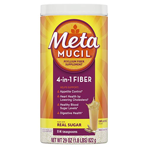 Metamucil Fiber, 4-in-1 Psyllium Fiber Supplement Powder with Coarse Real Sugar, Unflavored Drink, 114 Servings