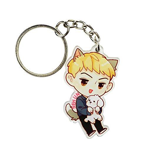 (Youyouchard Kpop EXO Cute Cartoon Keychain Acrylic Keychain Key Ring Key Holder Key Lanyard Hot Gift for Fans(H05))