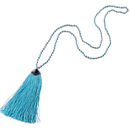 KELITCH Silver-Plated Beaded Chain Long Necklace with Tassel Pendant - Light Blue
