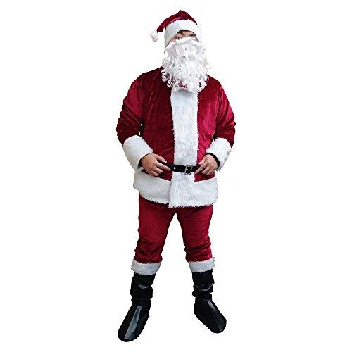 Fanme Santa Claus Suit Christmas Flannel Costume for Men (Crimson) -