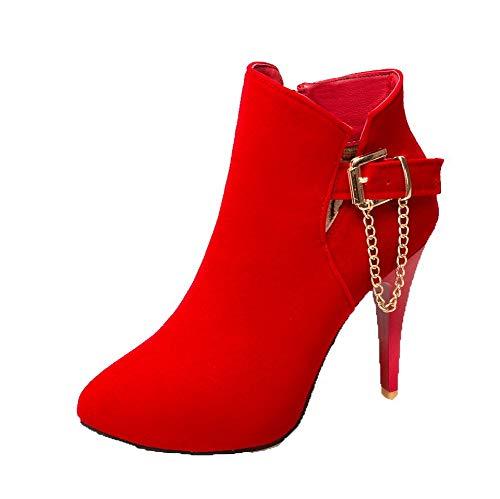 Caviglia Cerniera Alto Alla gmmxb116571 Tacco Agoolar Rosso Stivali Di Pelle Donna Mucca R8qa4