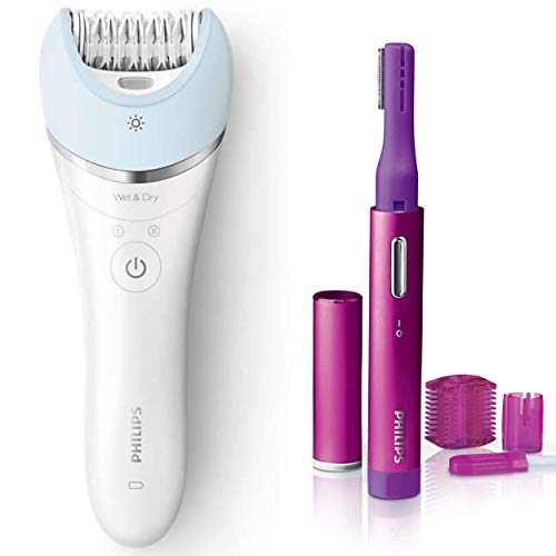 - Philips Satinelle Advanced Epilator, Electric Hair Removal, Cordless Wet & Dry Use + Bonus Precision Perfect compact Trimmer for Women, Facial hair & Eyebrows