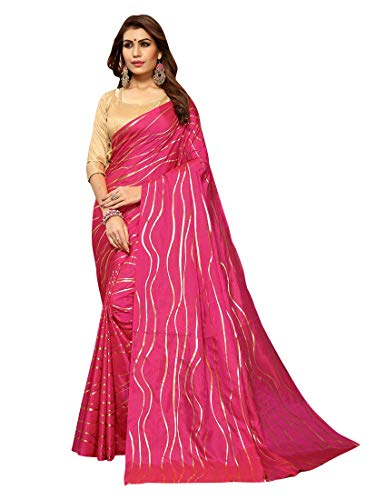Craftsvilla Women's Art Silk designer Pink Saree with Blouse piece