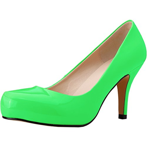 Toe Zbeibei Green High Dress Neon Pumps Stiletto Concealed Round Platform Women's Heels HAqCEw