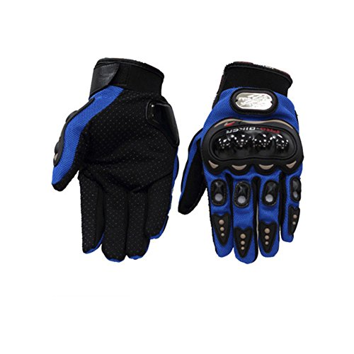 Unisex Motorcycle Off Road Full Finger Gloves Moto Gloves Racing Riding Gloves (Blue, L)