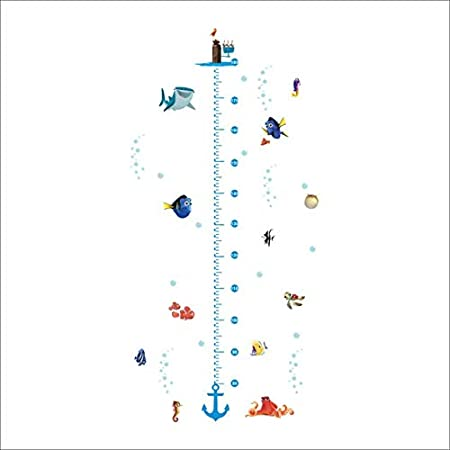 W-L Gr/áfica de Altura Vivero de la carta de crecimiento Altura etiqueta de la pared de los muchachos muchachas de los cabritos de mar subacu/ática pescado ancla Finding decorativo de la decoraci/ón de l